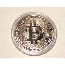 Биткоин монета сувенир серебристый