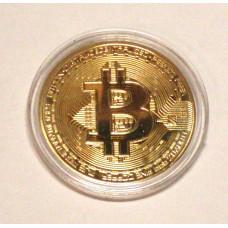 Биткоин монета сувенир золотой